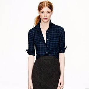 J.Crew Navy and Green Plaid Button Up Shirt
